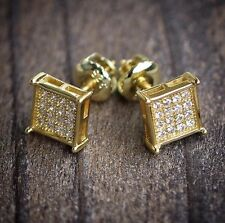 Mens Small 14k Gold Square Stud Earrings With Screw On Backs