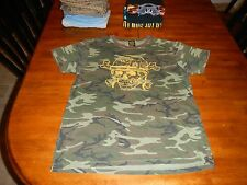lucky brand camouflage t shirt with soldier skull mens medium made in usa rare