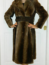 SHEARED BEAVER FUR BELTED COAT SUEDE Sz.S-M