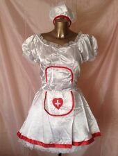 WHITE SEXY NURSE COSTUME DRESS HAT 2 UNDERSKIRTS FANCY DRESS POLYESTER SIZE  L