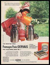 Publicité Fromage Frais GERVAIS Poupée Ancienne Normande  Old Doll ad   1961