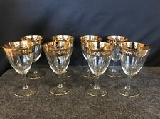 8 Gold Rimmed Crystal Wine / Water Glasses 6 1/4 Inches