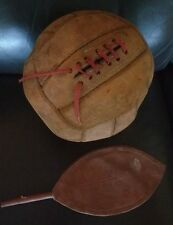 VINTAGE 1950's STITCHED LEATHER SOCCER FOOTBALL with Spalding bladder