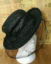 Stunning True Vintage 1940's Black Straw Hat