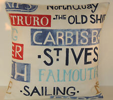 "Nautical Themed Seaside Words and Places Beach Padstow Colbalt 16"" Cushion Cover"