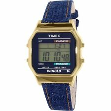 Timex TW2P77000 Women's 80's Heritage Collection Gold Tone Leather Digital Watch