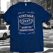 VINTAGE 1937 AGED TO PERFECTION T-shirt 80th BIRTHDAY Present Gift 80 years old