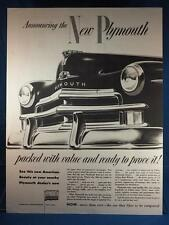 Vintage Magazine Ad Print Design Advertising Plymouth Automobiles