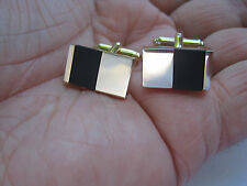 Anson Cufflinks and Tie Tack, Gold-Tone and Onyx, New Old Stock