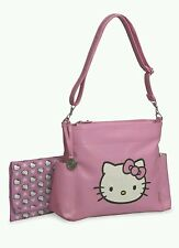 AUTH. BNWT HELLO KITTY VINYL APPLIQUE DIAPER TOTE BAG, PINK/WHITE