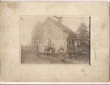 Farm Couple Standing By House With Horse & Calf Cow Vintage Antique Mount Photo