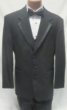 40R Mens Black Wool Tuxedo Jacket Pant Vest Bow Tie Set Bargain Tux Suit Formal