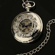 Silver Rhodium Pltd Mechanical Steampunk Skeleton Pocket Fob Watch w/ Chain, Nr