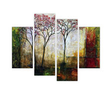 """LARGE CANVAS PRINTS ABSTRACT TREES WALL ART 4 PANEL 35"""" 90cm XXL PICTURES PHOTOS"""