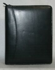 """FRANKLIN QUEST Black Leather Compact 6 Ring Zippered Binder 1-3/4"""" Rings"""