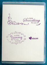 YUMMY Stampin' Up! cling mount rubber stamp 3pc set, food gift labeling