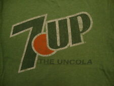 "7-Up ""The Uncola"" Classic Retro Distressed Brand Logo Soft Green T Shirt M"