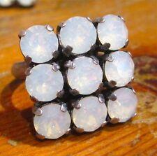 SoHo® Ring Quadrat geschliffenen Kristallen ss29 white opal weiß braut hochzeit