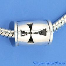 CHRISTIAN CROSS .925 Sterling Silver EUROPEAN EURO Spacer Bead Charm