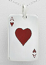 """1.50"""" Solid Sterling Silver Ace of Hearts Playing Card Pendant 10.3g 38mm"""
