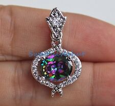 18K White Gold Filled - Hollow Oval MYSTICAL Topaz Cross Women Pendant New Style