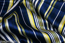"BLUE YELLOW STRIPE SATIN 44""W FABRIC DRAPE TABLECLOTH SCARF SKIRT BTY"