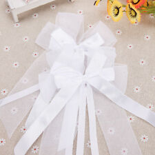 10 X White Stain Pew Bows Bowknot For Wedding Decorations Bridal Car Prom Party