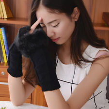 Women Fashion Knitted Arm Fingerless Winter Gloves Soft Warm Mitten Black