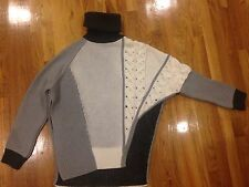 Prabal Gurung Asymmetrical Mixed Intarsia Sweater M/L retail $2100 made in italy