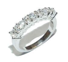 Sterling Silver & Gem Set ½  Eternity Ring - UK Size O
