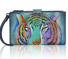 Anuschka, All Leather, Hand-Painted Smart Phone Case & Wallet- Eye of the Tiger