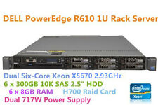 Dell PowerEdge Server R610 Dual Xeon X5670 6x300GB HDD 10K SAS 48GB RAM H700