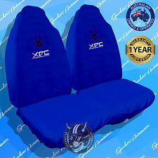 GENUINE BLUE XDC SPIDER CAR SEAT COVERS, SLIP ON THROW OVER STYLE, FRONT PAIR!