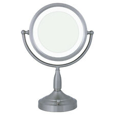 Zadro 8X / 1X Satin Nickel Lighted Round Vanity Mirror