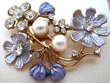 Ladies Crystal Rhinestone Faux Pearl Enamel Brooch new