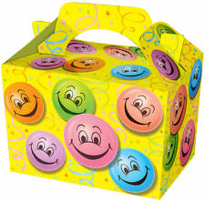 10 HAPPY FACE partito Scatole-Bottino Cibo Pranzo CARTONE Regalo Smiley