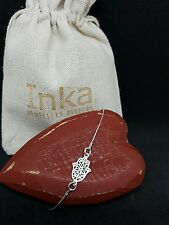 Inka Sterling Silver delicate bracelet with a Hamsa Hand connector charm