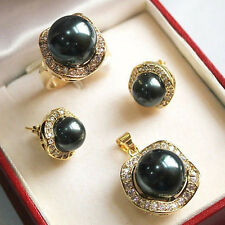 """10mm & 14mm black South sea Shell Pearl Earrings Ring Necklace Pendant Set 17"""""""