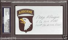 PHILIP PERUGINI BAND OF BROTHERS SIGNED 3X5 INDEX CARD PSA/DNA AUTOGRAPH AUTO