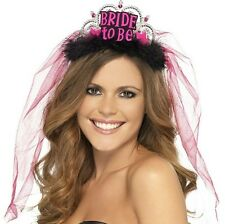 Donna Addio Al Nubilato Bride To Be Tiara con pizzo Velo Rosa/da nero by Smiffys