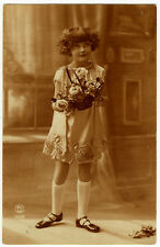 1920's French Deco Adorable Little FLAPPER GIRL Cute French photo postcard