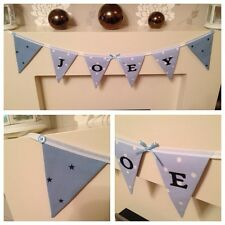 PERSONALISED Boys Clarke & Clarke Blue Dotty Spot and Star Bunting Flags