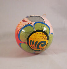 Mexican Folk Art Pottery Hand Painted Christmas Bulb Ornament