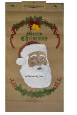 Santa Claus Burlap Banner Merry Christmas Holiday Decoration 16x30