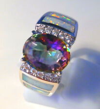 "GORGEOUS WHITE  FIRE OPAL/MYSTIC TOPAZ   RING UK Size ""P"" US 8"
