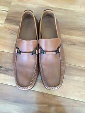 HUGO BOSS BROWN MENS LEATHER LOAFERS SLIP-ONS DRIVING SHOES MOCCASINS SZ 8