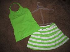 Girl's 14 outfits skort and top green and 1 purple outfit Children Place summer