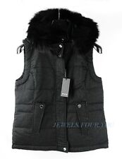 TUMI MODENA CASHMERE BLEND DOWN REVERSIBLE VEST JACKET REAL FOX FUR HOOD SIZE S