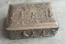 "Antique Early 1900s P&B Metal Wood Holland Dutch Theme Ring Box 4 1/4"" Wide"