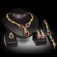 red zircon Trendy Gold Plated Necklace Earring Bracelet Ring Jewelry Set